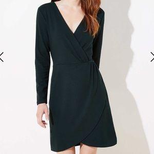 NWT Loft Dark Green Shirred Wrap Dress
